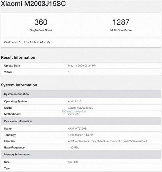 Смартфон Redmi 10X засветился в бенчмарке Geekbench
