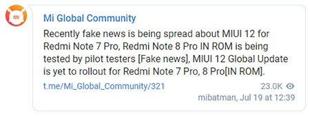 Выход MIUI 12 для Redmi Note 7 и Note 8 Pro оказался фейком