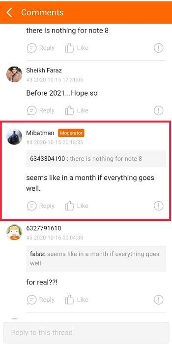 ответ модератора Mi Community