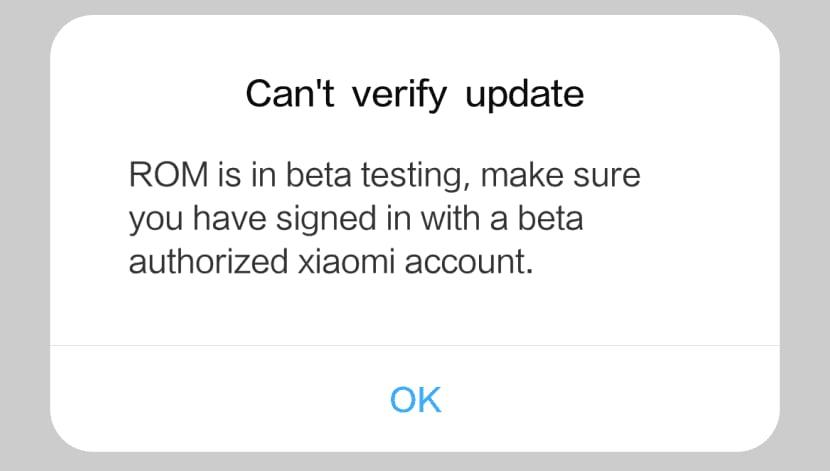 ошибка Xiaomi ROM is in beta testing