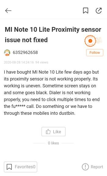 """Датчик приближения Xiaomi Mi Note 10 Lite """"вылечат"""" в MIUI 12"""