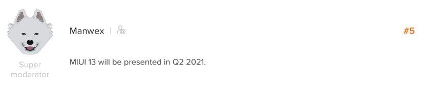 Дата выхода MIUI 13 от модератора форума Mi