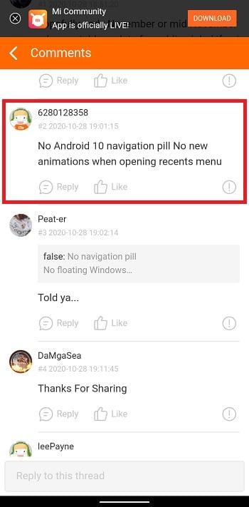 сообщение об урезанной версии MIUI 12 для Redmi Note 8