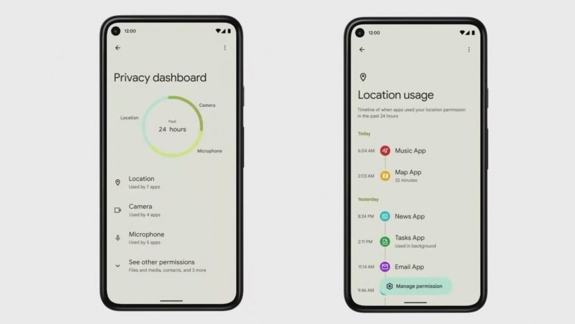 Защита конфиденциальности Андроид 12